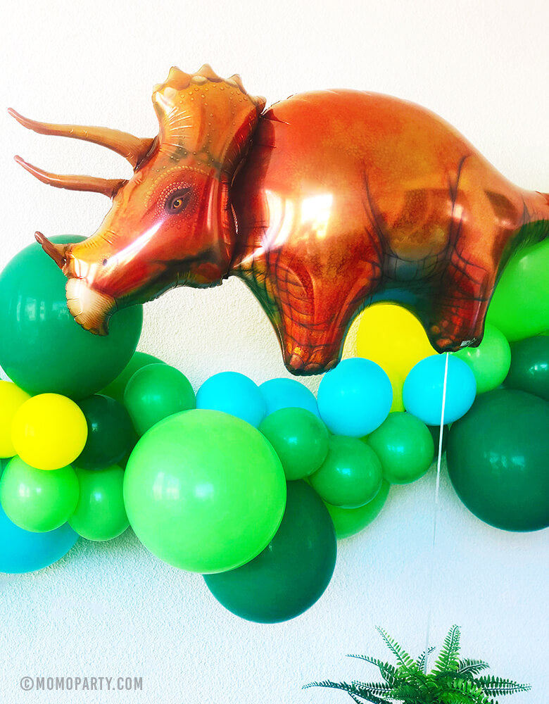Triceratops Mylar Balloon with Green Balloon Garland