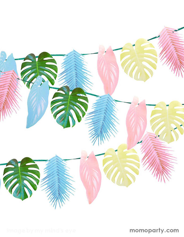 Talking Tables - Tropical Palm Pastel Leaf Garland, Features 12 palm leaves in pretty pastel colours. This garland is double-sided, simply hang on the wall, in the garden or across the ceiling to create a tropical atmosphere that your guests will love! Perfect for a tropical themed birthday party, fiesta or summer garden party