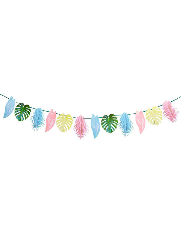 Talking Tables - Tropical Palm Pastel Leaf Garland. This party decoration features 12 palm leaves in pretty pastel colours. This garland is double-sided, simply hang on the wall, in the garden or across the ceiling to create a tropical atmosphere that your guests will love! Perfect for a tropical themed birthday party, fiesta or summer garden party