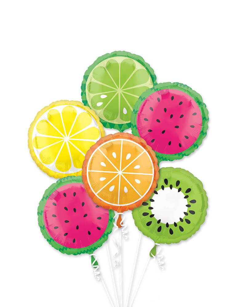 Anagram Summer Time Tropical Fruit Foil Balloon Bouquet with 6pc Balloon Pack of Watermelon, Kiwi, Lemon and Lime Balloons
