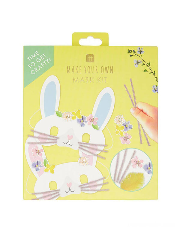 Talking Tables - Truly Bunny Easter Mask Making Kit. Decorate a bunny rabbit, lamb or cute chick face shaped mask with the included stickers, pom poms, pipe cleaners and feathers. A fun indoor craft activity for kids whilst at home this spring. Easter Activities for kids, Easter kit