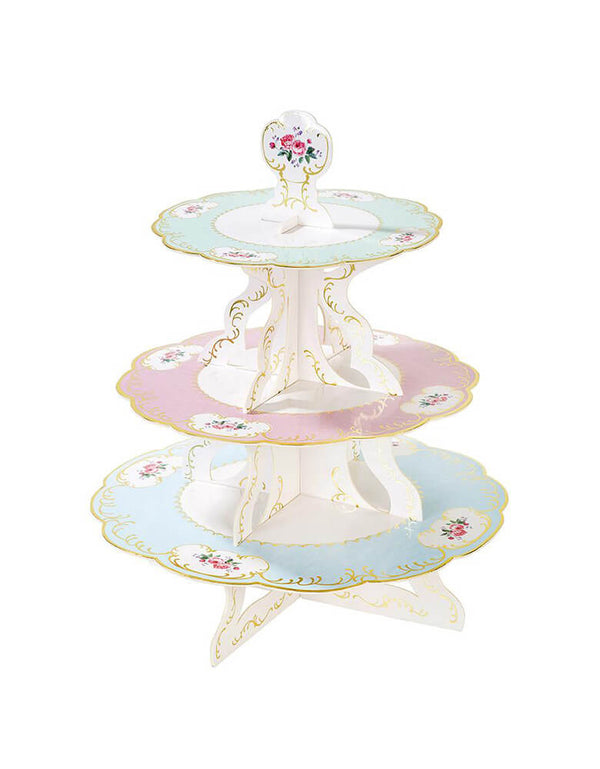Talking Tables Truly Chintz Cake stand, with 3-tiered cake stand.  It's reversible and easy to assemble. Each kit contains 3 disposable card cake stands which stores flat for convenience. This elegant cake stand  is perfect for displaying sweet or savory treats and creating a fabulous spread for your tea party little guests,  Little Tea Party, Afternoon Tea Party, Vintage Style Tea Party, Tiered Cake Stand, Cupcake Display.