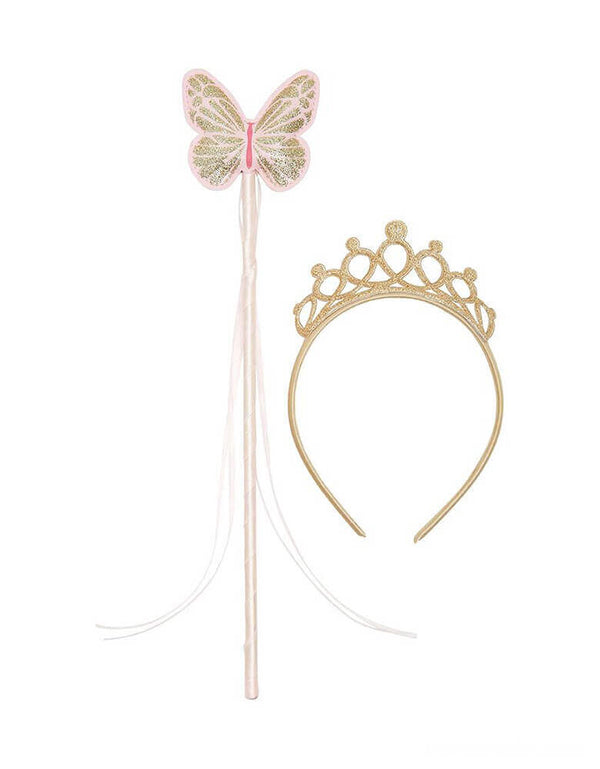 Fairy Wand and Tiara Fancy Dress Accessory by Talking Tables. This gold glitter tiara and pink fairy wand set makes the perfect birthday gift for a little girl or dress up costume accessory! Great for a kid's princess or fairy themed party to make the birthday girl or boy feel special.