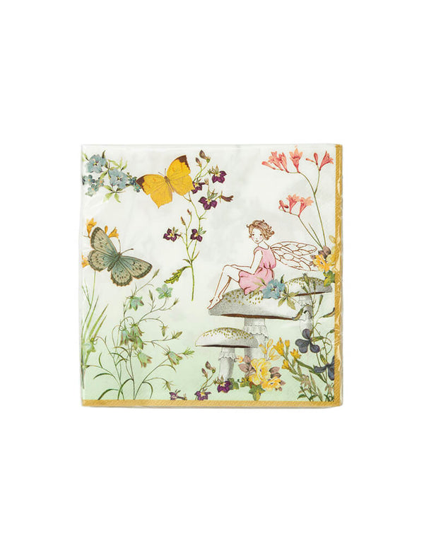 Talking Tables - Truly Fairy Napkins. Featuring a pretty setting with a friendly fairy, butterflies and delicate flowers, these napkins are perfect for a birthday party fit for a birthday fairy!