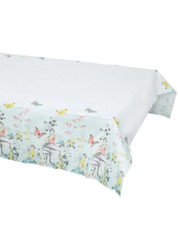 Recyclable Mint Green Fairy Table Cover by Talking Tables. features beautifully illustrated fairies, flowers and toadstools. Perfect for a kid's fairy themed birthday party, afternoon tea party or on Mother's Day.