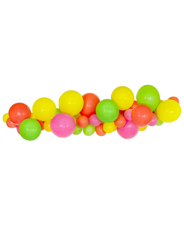 DIY Fruit Summer Tutti Frutti Balloon Garland with Yellow, Lime, Peach, Pink Latex Balloons