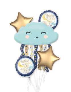 "Anagram Balloons - 38507 Twinkle Little Star Bouquet foil Balloon. Create a star-studded baby shower with this Twinkle Twinkle Little Star Balloon Bouquet! This five-piece baby shower balloon bouquet features a giant foil balloon shaped like a cloud that's raining stars as the focal point. Two blue and white balloons displaying a ""Twinkle Twinkle Little Star"" headline and two gold star-shaped balloons complete this baby shower balloon bouquet."