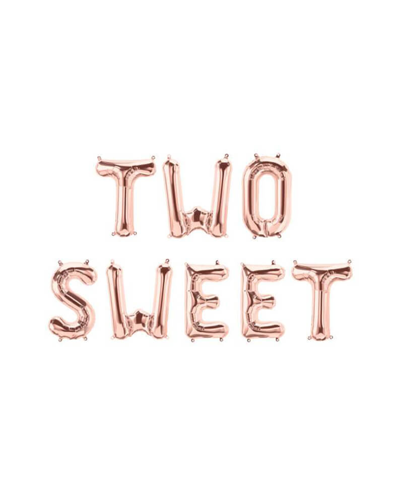 """Two Sweet"" Rose Gold Letter Script Foil Mylar Balloon Set_Girls 2nd Birthday Party"