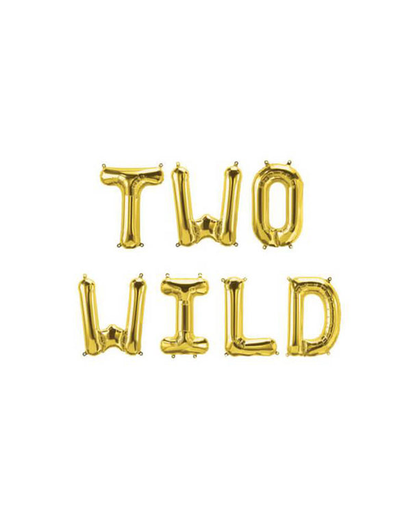 Two Wild Foil Mylar Balloon Set_Safari Jungle 2nd Birthday Party Ideas