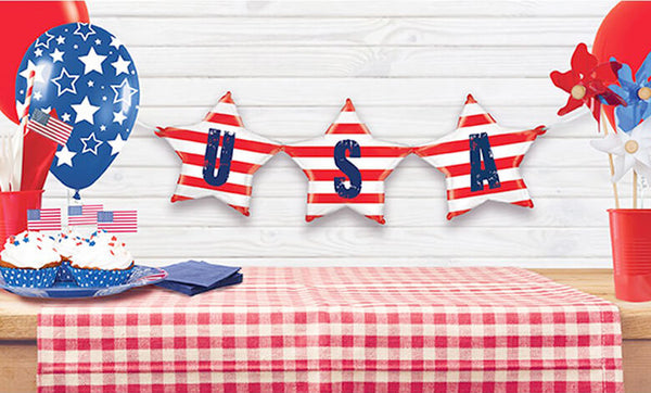 USA Bunting Foil Balloon