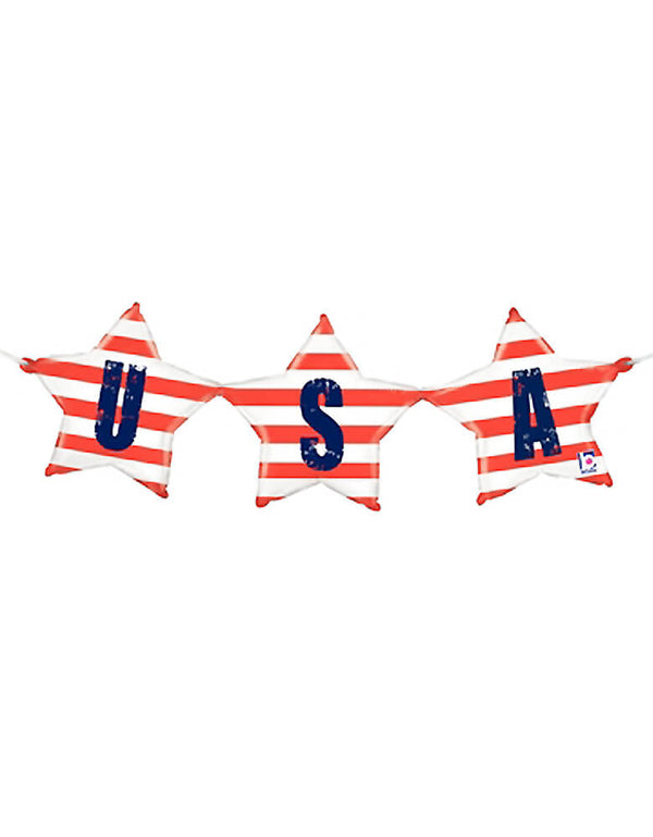"Betallic Balloon - 35790	37"" USA Bunting Air-filled Shape Foil Balloon, This balloon bunting features USA with red and white stripes on one side, and USA with a blue background and red and white stars on the backside. Made of mylar foil Measures 37""long No helium needed Includes inflation straw and ribbon. This USA Balloon Air-filled Bunting makes a fun decoration for any patriotic event."