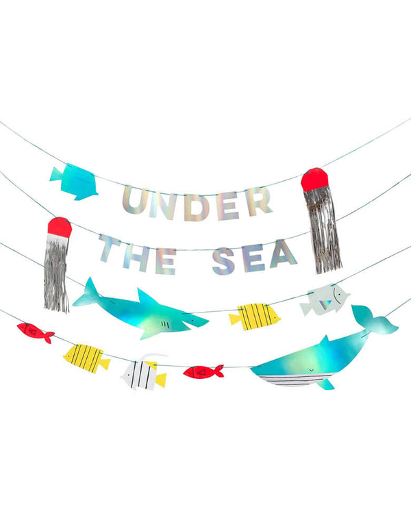 Meri Meri Under The Sea Garland with shark, fish, whale and jellyfish