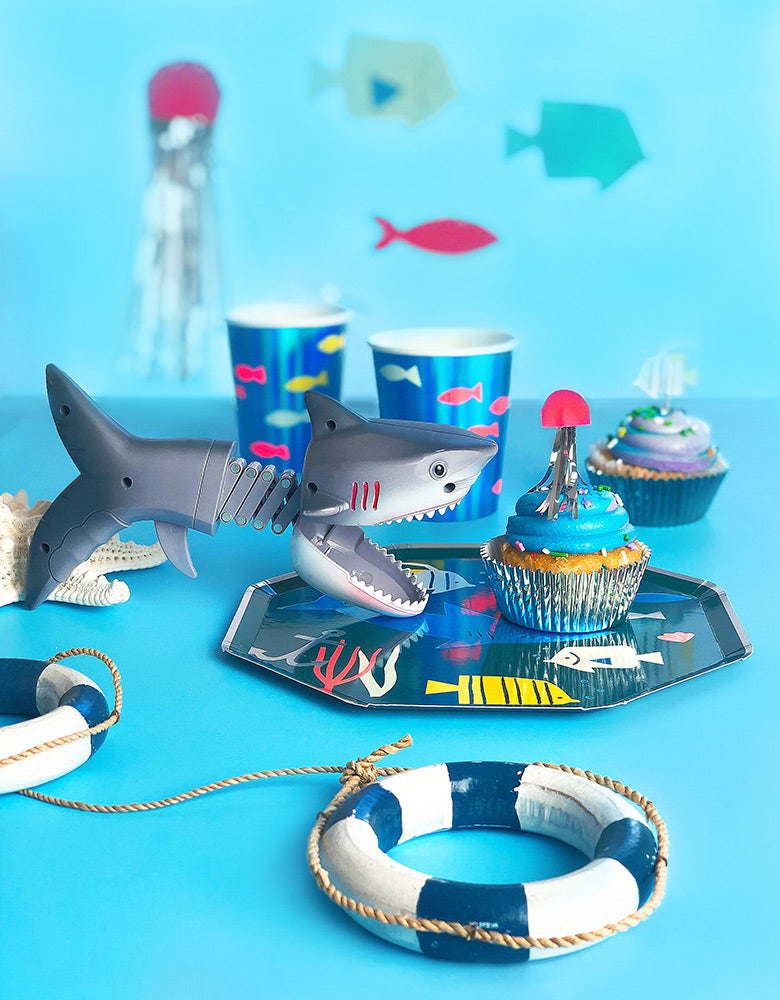 Meri Meri Under The Sea fish shark paper Plates with Shark Toy