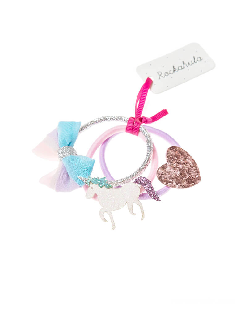 Rockahula Kids - Unicorn Glitter Ponies. Set of 3. Featuring a mythical glitter unicorn, a pastel multi-coloured bow, and a glitter heart.