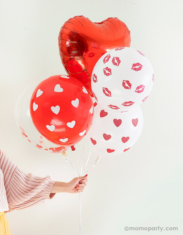 Assorted Heart Latex Balloon Mix - Red & White (Set fo 6)
