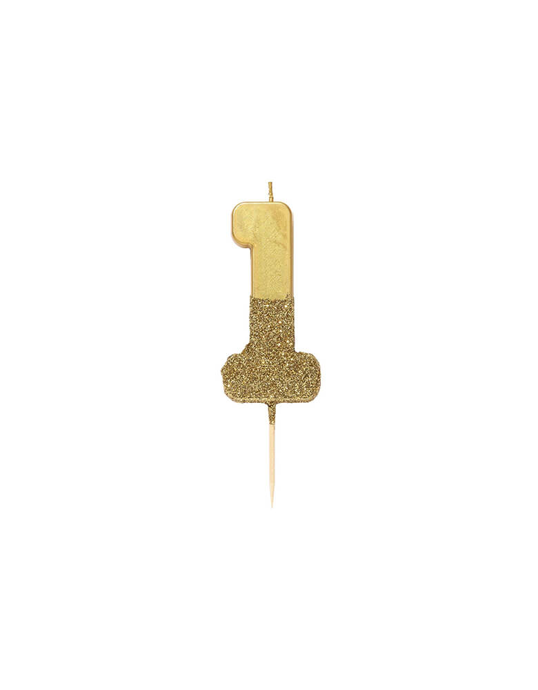 Talking Tables We Heart Birthdays Gold Glitter Candle_Number 1 in Gold color and Gold Glitter
