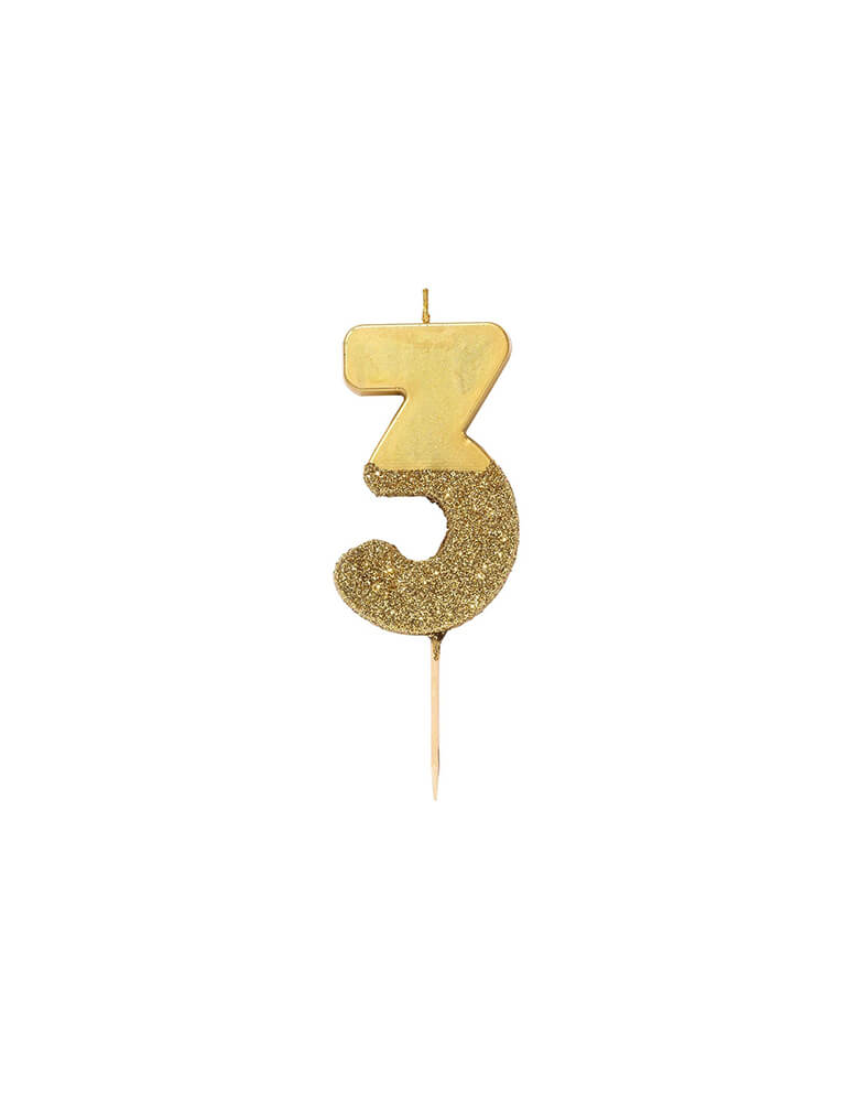 Talking Table WE-HEART-BIRTHDAY-GLITTER-Gold CANDLE_Number-3
