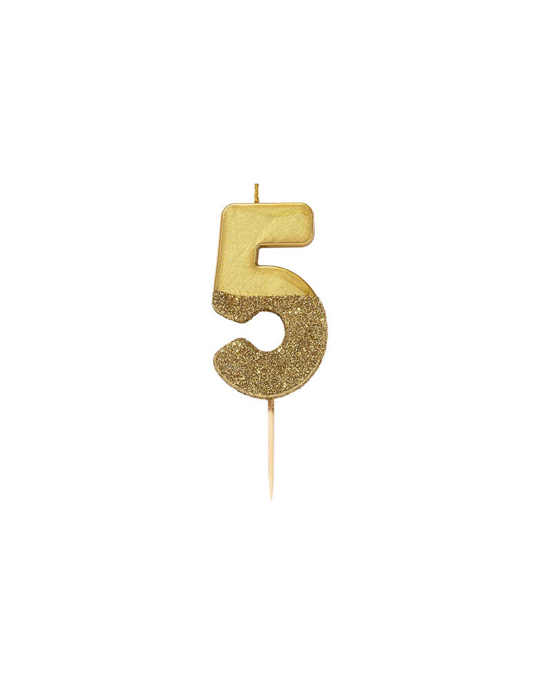 Talking Table WE-HEART-BIRTHDAY-GLITTER-Gold CANDLE_Number-5