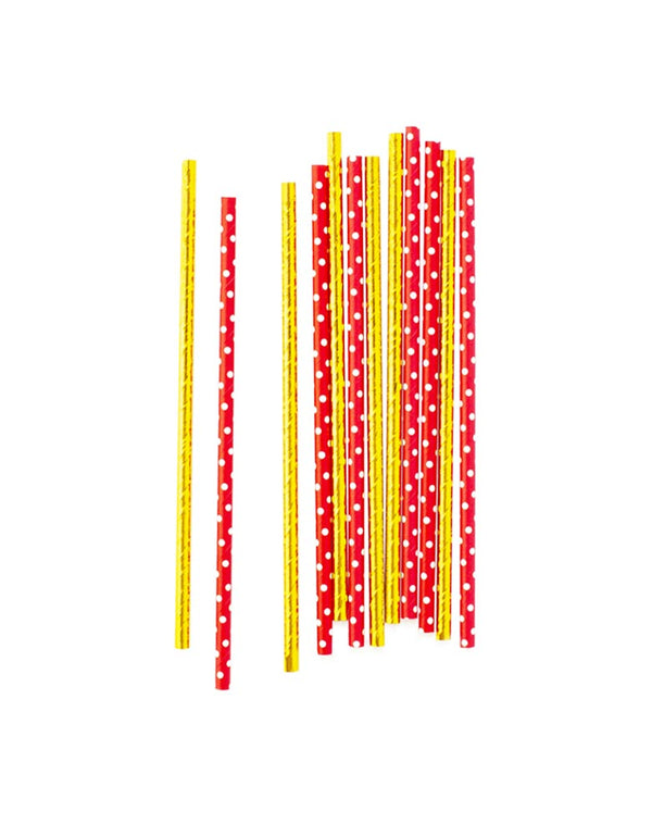Red Swiss Dot & Gold Foil Party Straws Set