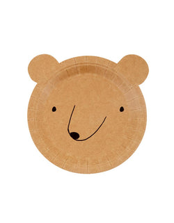 Meri Meri Bear Small Plates. Set of 12. These adorable bear plates come with sweet features bear head die cut shape and hilarious round ears. It's perfect for little hands of nature lovers!