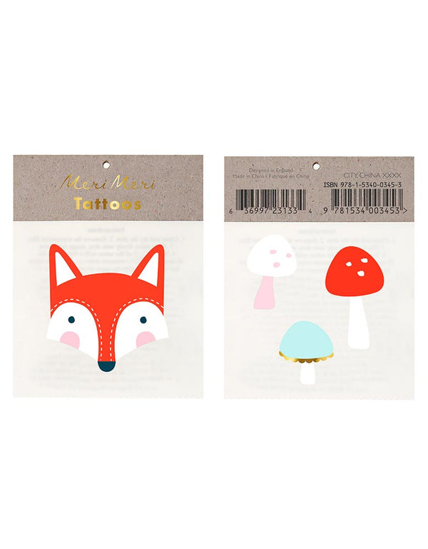 Fox and Mushrooms Temporary Tattoos