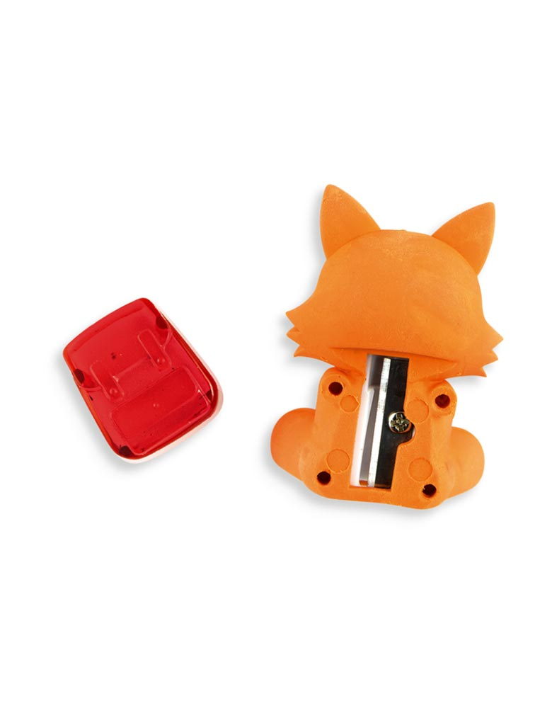 ooly Woodlands Writing Pals Eraser and Sharpener - Orange Fox with Backpack