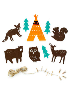 Woodland Felt Garland. Includes 5 animal, 3 tree, 1 teepee pennants. the individual felt features one teepee, five animals, and three trees design. With mini wood clothespins, this set is easy to put together and creates a lovely charm to your woodland celebration. Perfect for baby shower, birthday party and seasonal decorations!