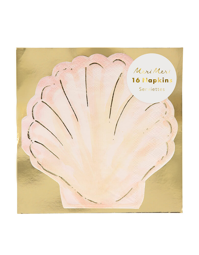 Meri Meri Watercolor Clam Shell Napkins. Pack of 16. Featuring a clam shell shape in a gold foil cardboard packaging, with lots of gorgeous gold foil detail for a shimmering effect.