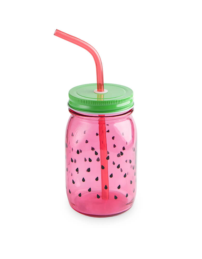 Cakewalk Watermelon mason jar kit, include a mason jar, straw and lid.  Size: holds 16 oz. One In A Melon First 1st Birthday Party-ware