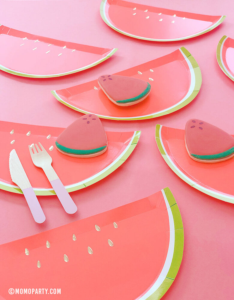 Meri Meri Watermelon plates of brightly colored die-cut watermelon shape with watermelon cookies and wooden cutlery