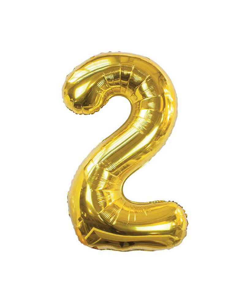 We Heart Birthdays Number Gold Foil Balloon