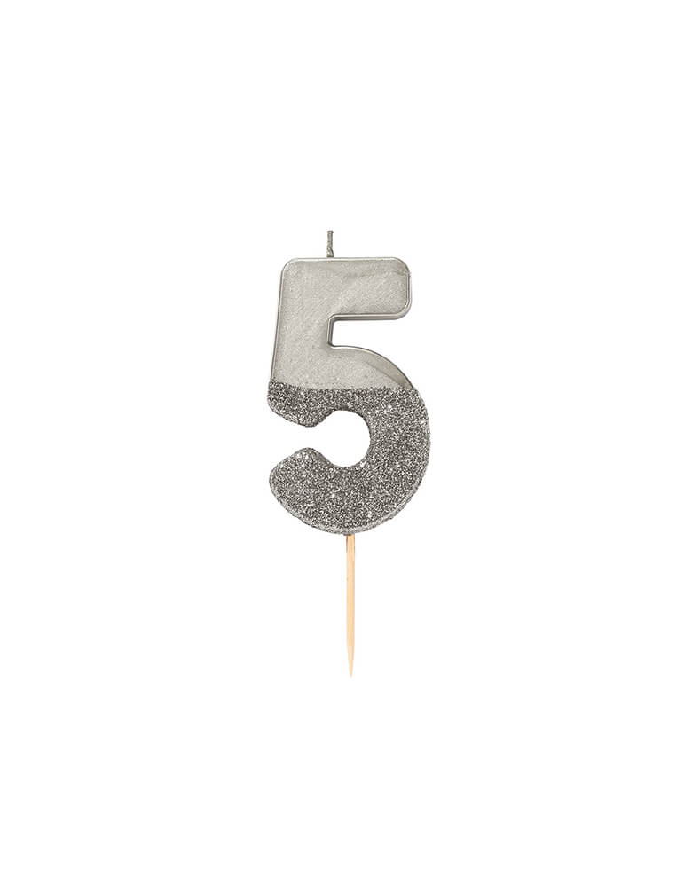 Talking Tables We Heart Birthday Glitter Candle - Silver Number 5