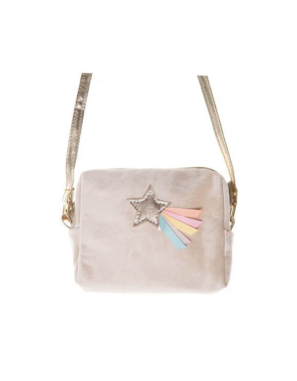 Rockahula Kids - Wish Upon A Star Bag. This beautiful cross body bag is the perfect for little star gazers! Featuring a pastel rainbow shooting star on a super soft velvet bag. Fully lined, with a zip closure and cross body strap with a break point for safety.