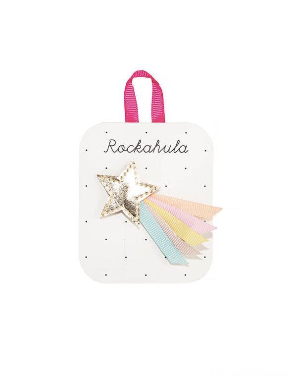 Rockahula Kids - Wish Upon A Star Clip. This lovely shimmering star has a trail of grosgrain ribbons, and is set onto a ribbon covered bar clip for a secure grip.