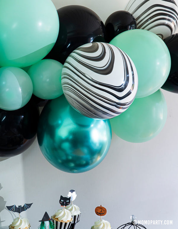 Details of Momo Party 2020 Halloween Collection, Witch Please themed Balloon Garland/Cloud, mix with 11 inch and 5 inch Pastel Matt Mint, Chrome green, Black, Black and White Marble color Latex Balloons. Unique Decoration for your Halloween party , A Modern Witch Inspired Halloween Party, spooktacular halloween party, Night Haunted House Birthday Party, nightmare before christmas party and all kind celebrations