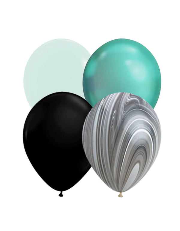 Qualatex latex balloon with 11 inches matte mint, chrome green, black and black and white agate balloons for a witch please halloween party