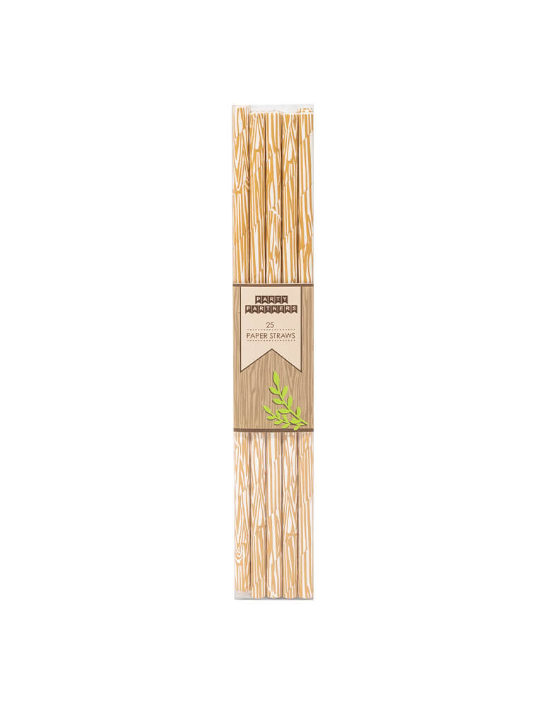 Party Partner Wood Print Party Straws Set of 25