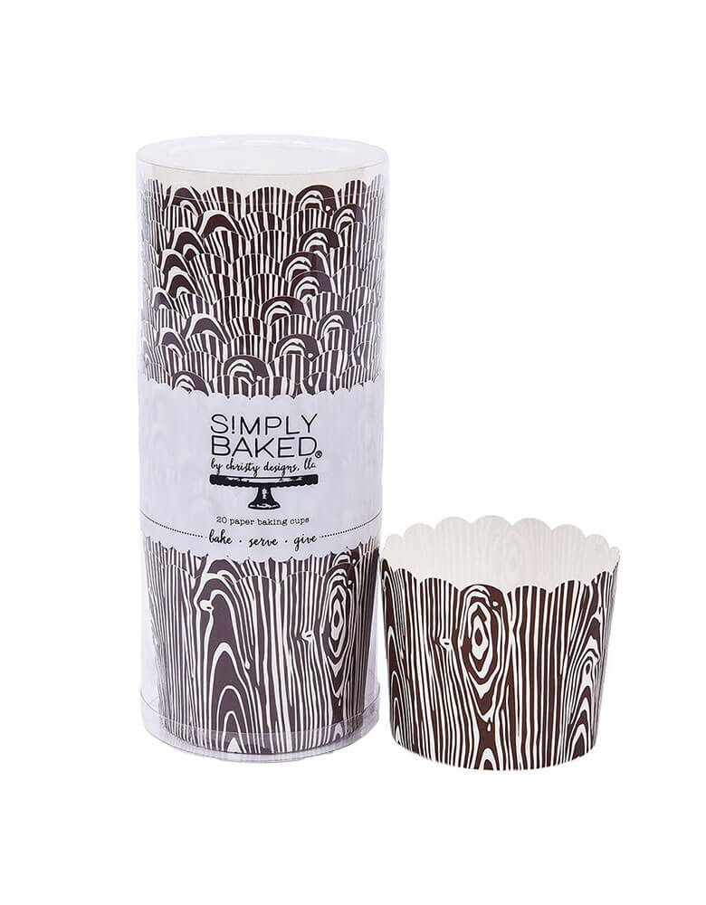 Simply Baked Wood Grain Cupcake Wrappers, Pack of 25. No liners or cupcake tins required. These decorative rustic wood grain designs are perfect for a camping themed birthday party, woodland themed birthday party, or baby shower, woodsey weddings, or fairy theme birthday parties. They are great for western country cowboy and cowgirl themes! Goes great with lumberjacks themed and barn themed parties. great for cupcakes decorating, treats and party favors.