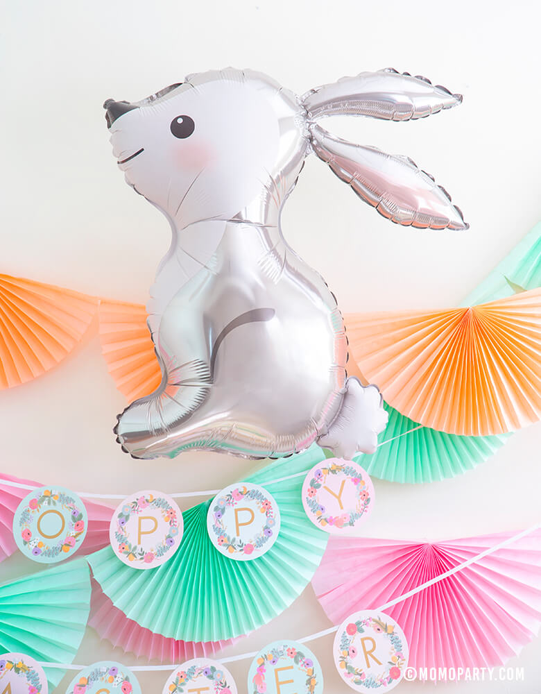 "Woodland Bunny Foil Mylar Balloon with pink, mint, peach paper bunting garland and Rifle Paper Co custome garden party letter garland in ""happy easter"" as cute modern decorations for a Easter Party"