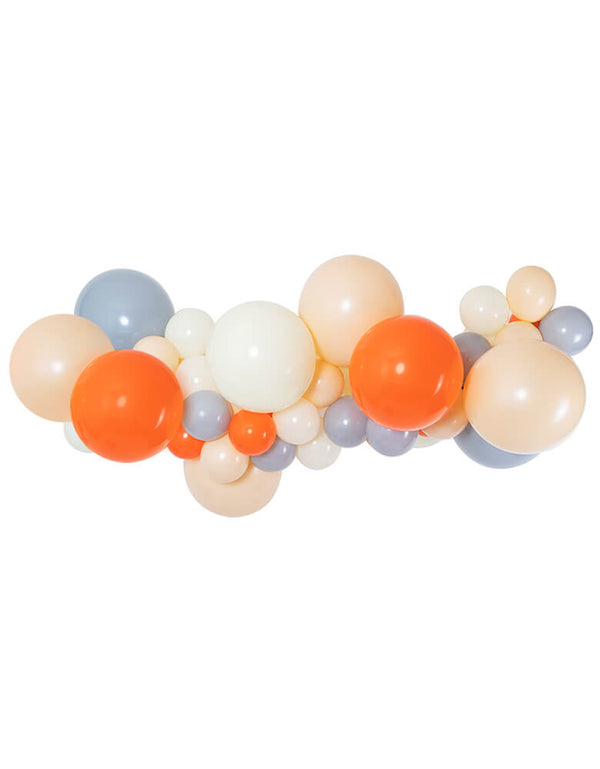 Woodland party gray white blush and orange Balloon garland