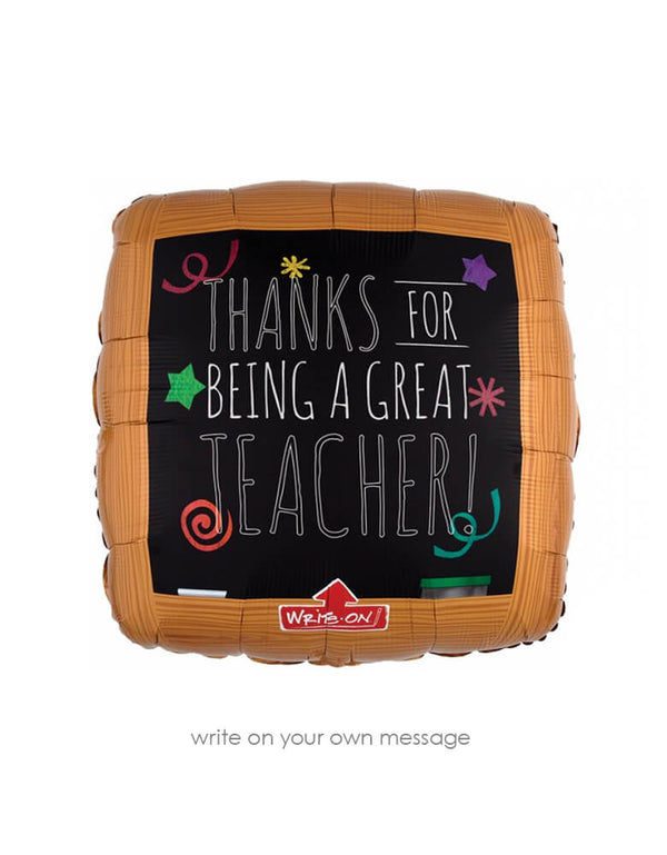 "Anagram Balloons - Jumbo XL 32742 Wood Frame Black Board foil balloon with writing ""thanks for being a great teacher"" note on it. this unique write-on black chalkboard foil balloon. printed with a black chalkboard surface that allows you to write your kid's name and their grade with the included white permanent chalk marker. Perfect for your kid's first day of school photo or a back to school party!"
