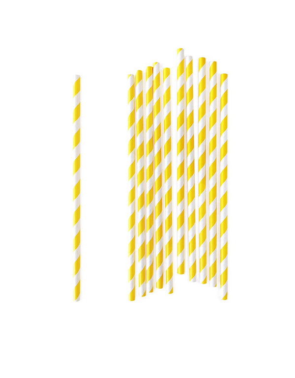 eco-friendly disposable Yellow stripes paper straws