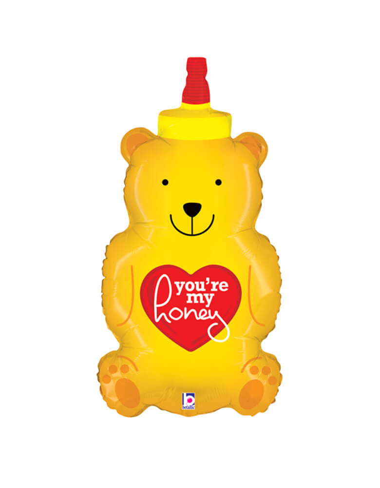 "Betallic 33"" You're My Honey Bear Shaped Foil Balloon for Valentine's Day"