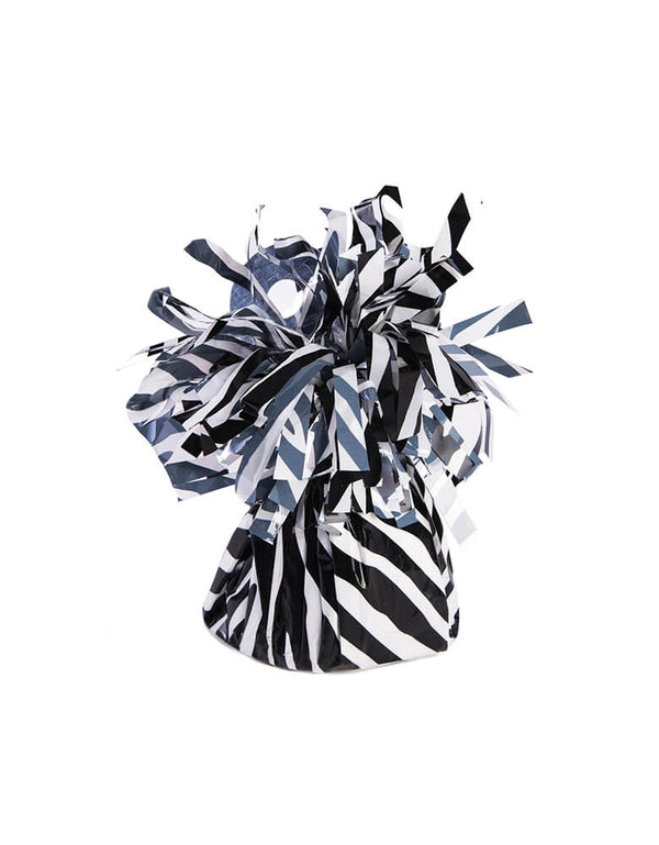 "Forum Novelties ""Zebra Animal Print"" Party Small Balloon Weight with Fringe wrap design, Capable of securing up to 15 - 11"" latex latex or 12 foil helium filled balloons, great for balloon bouquets. Features an attached plastic tab that comes up from the middle of weight to tie your balloon ribbons on to. This balloon weight makes a great party table centerpiece for safari animal themed birthdays and zoo themed birthday party, wild one birthday party,"