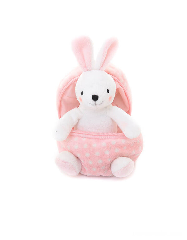 "Plushland plush toy - Zip Up Easter Egg of Bunny. Featuring a cute bunny hidden in a zip-open pastel pink dotted egg shape plush toy. At 6"" in size, it's lightweight and easy for your little one to play at home, in the car or on the go! super cute for easter basket, easter gift for kids,  party favor, party gift, bunny lovers."