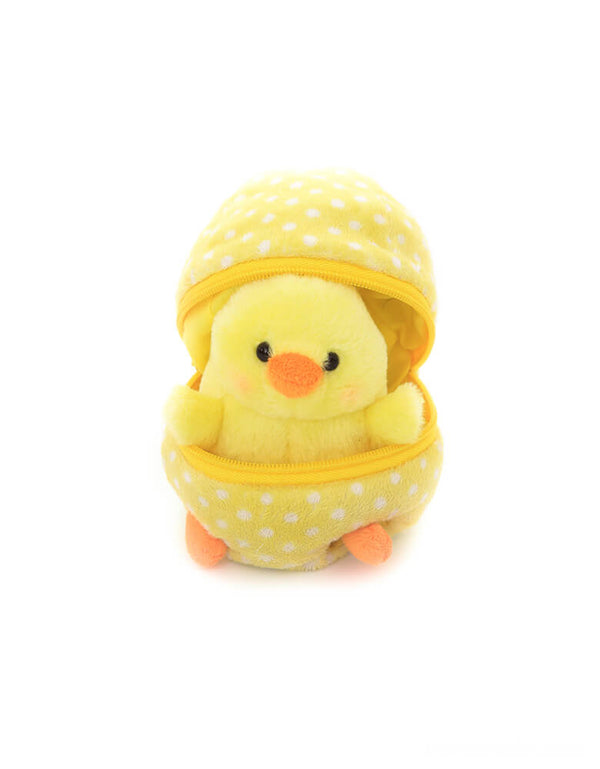 "Plushland plush toy - Zip Up Easter Egg of Chick. Featuring a yellow chick hidden in a zip-open pastel dotted yellow egg shape plush toy. At 6"" in size, it's lightweight and easy for your little one to play at home, in the car or on the go! super cute for easter basket, easter gift for kids"