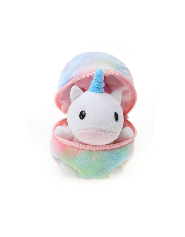 "Plushland plush toy - Zip Up Easter Egg of unicorn. Featuring a cute unicorn with light blue horn hidden in a zip-open pastel rainbow color egg shape plush toy. At 6"" in size, it's lightweight and easy for your little one to play at home, in the car or on the go! super cute for easter basket, easter gift for kids, or unicorn party favor, rainbow party gift, unicorn lovers."