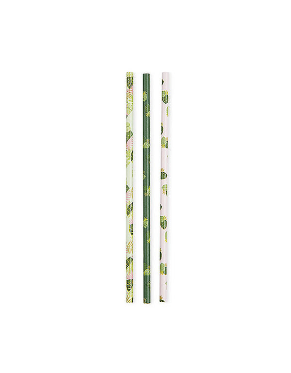 True brand Cakewalk party  - Assorted Monstera Palm Party Straws. Pack of 24. With gorgeous monstera palm pattern designs, these eco-friendly paper straws are perfect for any tropical, jungle or dinosaur themed parties!