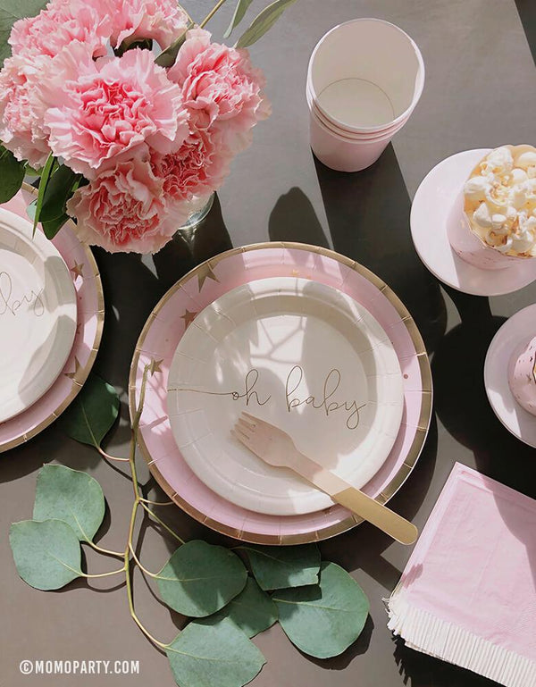 "Girl's pink baby shower tableware with My Mind Eye Oh Baby 7"" Basic White Small Plates and Baby Pink Start Large paper plate"