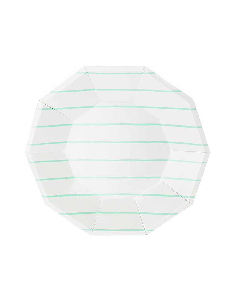 Daydream Society Frenchie Striped Large Paper Party Plates in Mint color, Pack of 8. A Eco-friendly modern party tableware, simple modern look design supplies for Modern party event, baby shower, bridal shower, any event celebration.